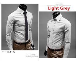 light grey dress shirt 2018 plus size m 3xl men long sleeve dress shirts slim fit causal