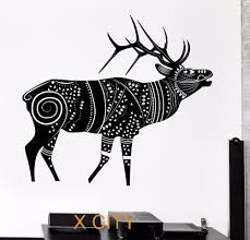 compare prices on wall stencil deer online shopping buy low price deer reindeer winter animal tribal ornament black wall art decal sticker removable vinyl transfer stencil mural