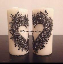 2 henna decorated candles anniversary gift eid ramadan home