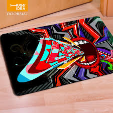 Thin Bathroom Rugs Rock Hip Hop Style Bedroom Carpets Home Indoor Thin Felt