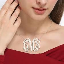 large monogram necklace wholesale sterling silver large size monogram necklace 2 inch