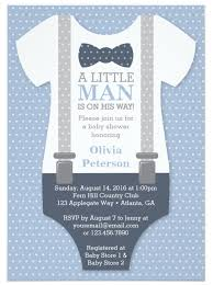 little man baby shower invitation in blue and gray little man