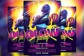 glow party uv glow party flyer template flyer templates creative market