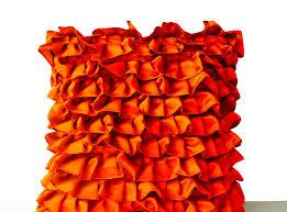 halloween cushions orange pillow covers orange satin ruffles by amorebeaute on zibbet