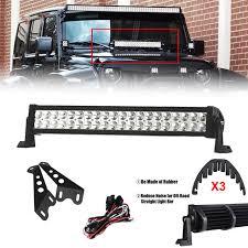 jeep jk hood led light bar 22 inch 120w led light bar with engine hood mount bracket dual row