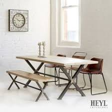 reclaimed scaffold board dining table and bench set with steel