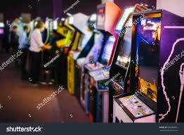 old vintage arcade games dark room stock photo 636086801