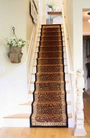 Stair Runner Rugs Stair Straight Stair Design With Brown Printed Leopard Motif