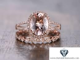 morganite wedding set 8x10mm oval cut morganite engagement ring set matching deco