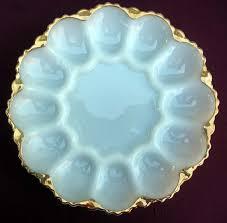 vintage deviled egg platter vintage deviled egg platter anchor hocking gold trimmed milk glass