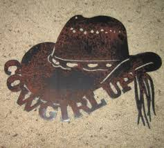 cowgirl up country metal art home decor metal art sign steel