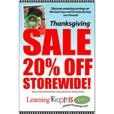 thanksgiving sale 20 storewide signs for learning express