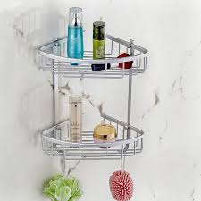 Corner Shelves For Bathroom Aluminum Home Hook Shower Storage 2 Layer Bath Corner Shelf Wall