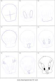 draw tweety bird face printable step step drawing sheet