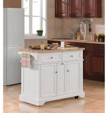 majestic crosley kitchen island with butcher block top and white