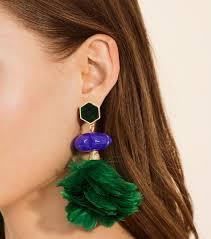 mr t feather earrings lyst burch feather drop earring in metallic
