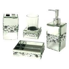 Silver Bathroom Rugs Silver Bathroom Set Brushstroke Silver Black Bath Set Transitional
