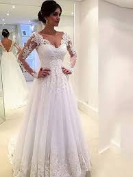 ball gown v neck long sleeves lace court train tulle wedding