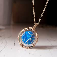 blue opal necklace blue opal necklace gold filled dream catcher buy blue opal
