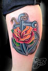 full color anchor and rose tattoo by jay blackburn tattoos