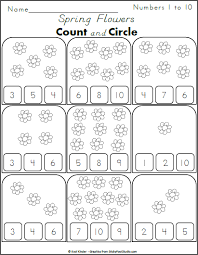 count the flowers and circle the numbers 1 to 10 kindergarten