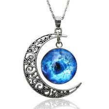 pendant necklace images Silver plated moon galactic universe glass cabochon pendant jpg
