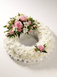 funeral wreaths wreath in pink and white