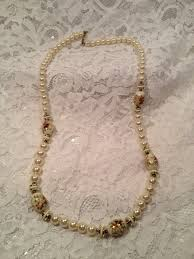 Candlelight Color Faux Pearls With Large Floral Beads Older