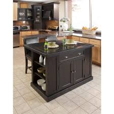 Kitchen Island Black Granite Top Home Styles Nantucket Black Kitchen Island With Seating 5033 949