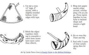 shofar horns paper trumpet horn crafts get coloring pages