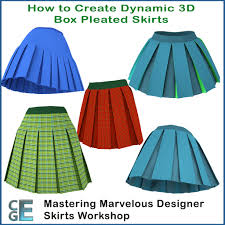 pleated skirts md132 marvelous designer box pleated skirts workshop
