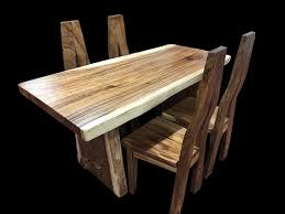 hton solid oak 120 160 live edge dining set with 4 custom chairs primefurniturehouston