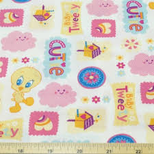 looney tunes tweety pie cutie white 100 cotton fabric