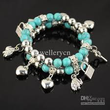 beads charm bracelet images Turquoise beads bracelets for women heart charms jewelry plastic jpg