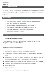 Hr Resume Format For Freshers Sample Resume Of Hr Executive Executive Resume Sample Sample