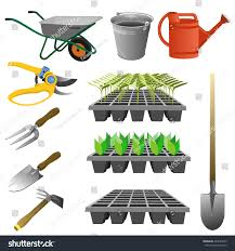 set garden tools vector illustration various stock vector