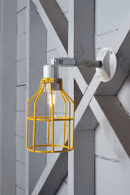 Yellow Wall Sconce Industrial Wall Lamp Outdoor Yellow Wire Cage Exterior Wall