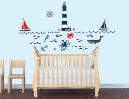 Nursery Stickers Amazon Com Nautical Wall Decal In Red Navy And Gray For Nursery
