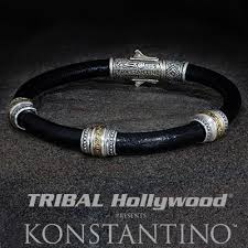 bracelet beads leather images Konstantino wine barrel silver beads mens leather bracelet jpg