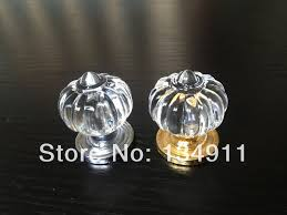 10pcs 34mm acrylic clear crystal golden base round drawer handles