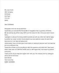 immediate resignation letter templates 5 free word pdf format