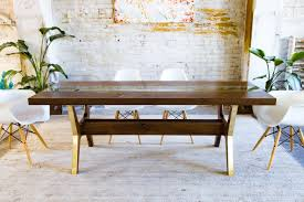 Brass Dining Table Custom Modern Dining Table Walnut Brass Glass The April By