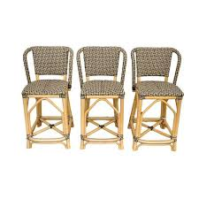 Palecek Bistro Chair Palecek Patio Terrace French Bistro Bar Stools Set Of 3 Chairish