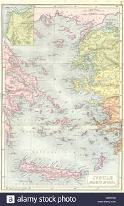 Map Of Ancient Greece And The Aegean World by Ancient Greece Aegean Troy 1908 Antique Map Stock Photo