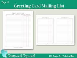 day 11 greeting card mailing list scattered squirrel