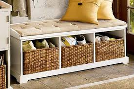 attractive wood storage bench with baskets solid white regard to