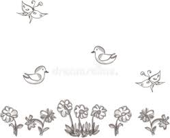 Flowers For Birds And Butterflies - drawn flowers birds and butterflies stock vector image 67936603