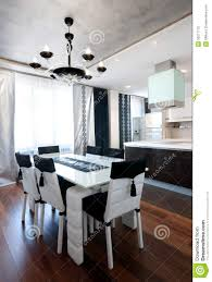 modern black and white kitchen modern design kitchen interior in black and white stock photo