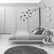 White Bedroom Carpet White Wooden Bed White Marble Floor Grey Wall Grey Partition Black