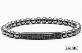 metal bead bracelet images Paved cz bar beaded bracelet minor detail png